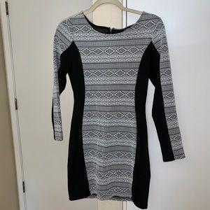 Black & white bodycon mini dress